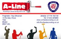 A-Line Painting and Decorating Services Bristol, Yate - Business Card